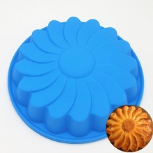 23*23*4.2CM 138G Flower Shape 3D Silicone DIY Cake Mold Baking Tools For Bakeware Pizza Mould Pan and Jelly Tray Free Shipping(China)