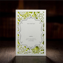 2017 New Arrivals 50Pcs Casamento Laser Cut Wedding Invitations China In Made Vintage Wedding Invitation Cards With Green Insert(China)
