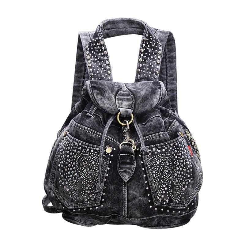 Fashion crystal drawstring denim backpack ladies designer high grade jeans cloth bags shoulder women travel backpacks 2colors<br>