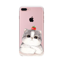 2017 Fashion cartoon aniamls summer cool fresh clear thin pet cherry tomato persian cat pet soft tpu cell phones case For Iphone(China)