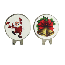 Christmas Santa & Bell Golf Ball Markers with 2 Magnetic Golf Hat Clips Silver Color Nickle Finish