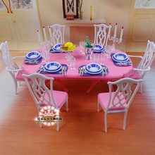 For barbie Kelly Ken Doll Blue & White Dining Table Set / Dollhouse Dining Room Furniture Saucer Chair Accessories Girls Gift(China)