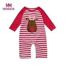 Christmas Clothes Deer Newborn Baby Girls Boys Cartoon Stripe Rompers Jumpsuit Outfits Baby clothes drop ship(China)