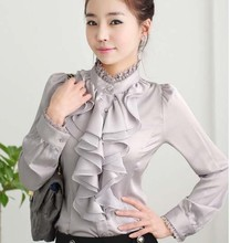 2017 New Ladies High Neck Frilly Womens Vintage Victorian Blouse Ruffle chiffon Top Shirt(China)