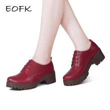EOFK 2018 Women Handmade Square Heel Shoes red Leather casual high heels wedges shoes Woman Female oxford wedges Pumps(China)