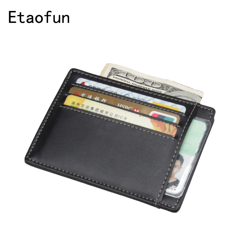 Etaofun Hot Sale Genuine Leather Thin Card Case Mens Front Pocket Card Holder Purse Slim Wallet Men Mini Coin Pocket Black Cover(China)