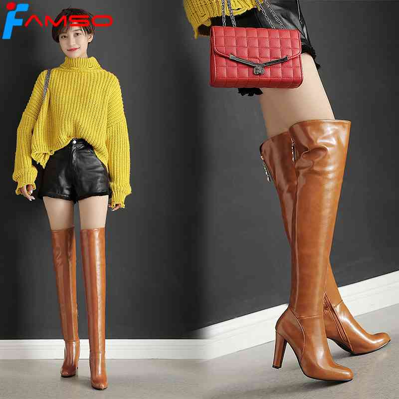 FAMSO 2017 New  Women Boots Shoes Zipper Red High Heels Party Shoes Black Winter keep Warm over The knee Boots For Lady<br>
