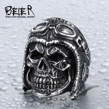 BEIER Dropshipping Wholesale 316L Stainless Steel Jewelry Skull Astronaut Ring Punk Man`s Ring BR8-395