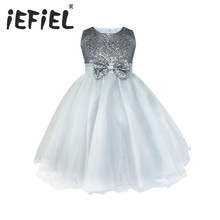 Kids Infant Girls Flower Dress Wedding Bridesmaid Birthday Party Pageant Princess Formal Dress Sequined Bow Tulle Tutu Dress(China)