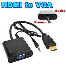 AC High quality HDMI to VGA Converter Adapter with Audio Cable + Micro USB Power Connector HD 1080P for Xbox 360 PS3 HDTV