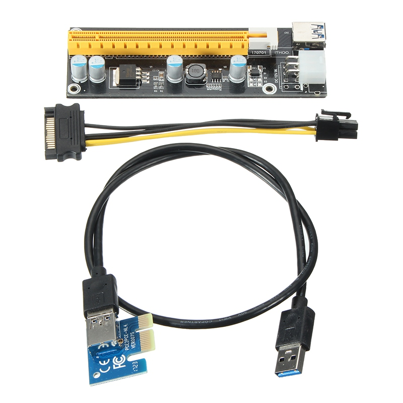 5pcs USB 3.0 PCI-E Express 1X To 16X Extender Riser Card Board SATA Adapter ETH 6 Pin New SATA 15pin Male to 6pin Power Cable<br>