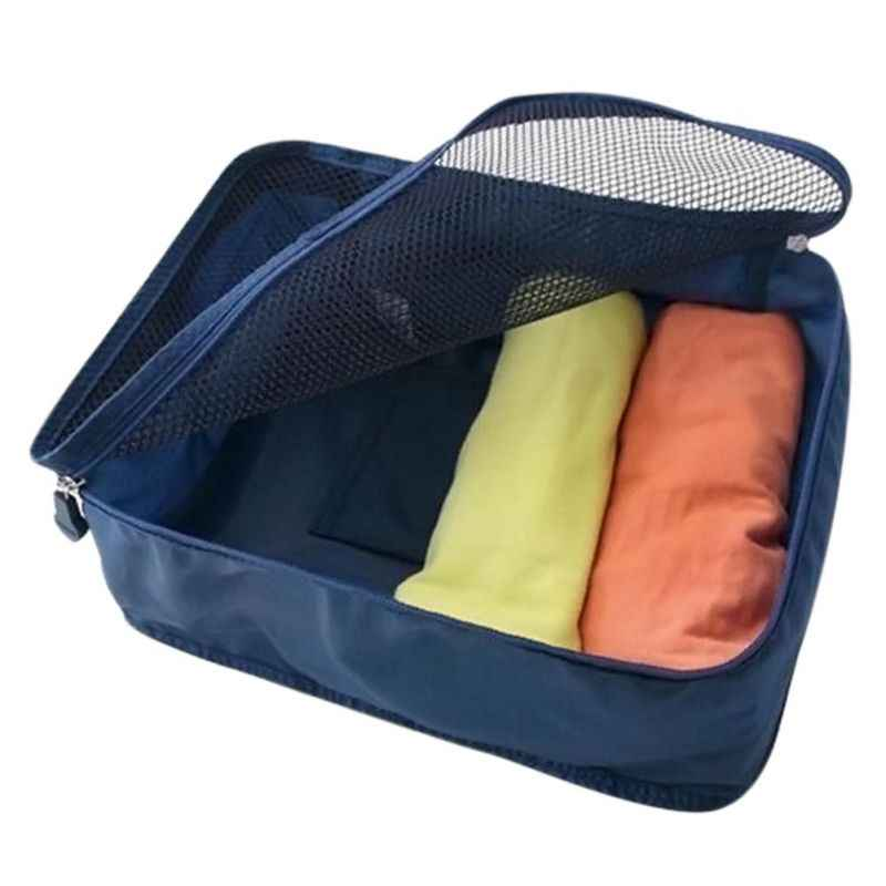 Closet Organizer Portable Fold Nylon Mesh Storage Bags For Clothes Travel Pouch Luggage Tidy Box Organizer