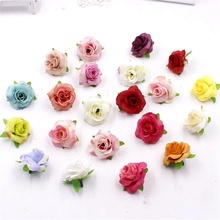 5pcs/lot Fresh and artificial flowers small tea bud Simulation small tea rose silk flower decoration flower head DIY accessories(China)