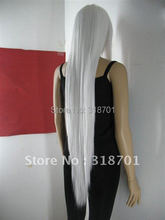 Free shipping  long straight white hair cosplay party Wig