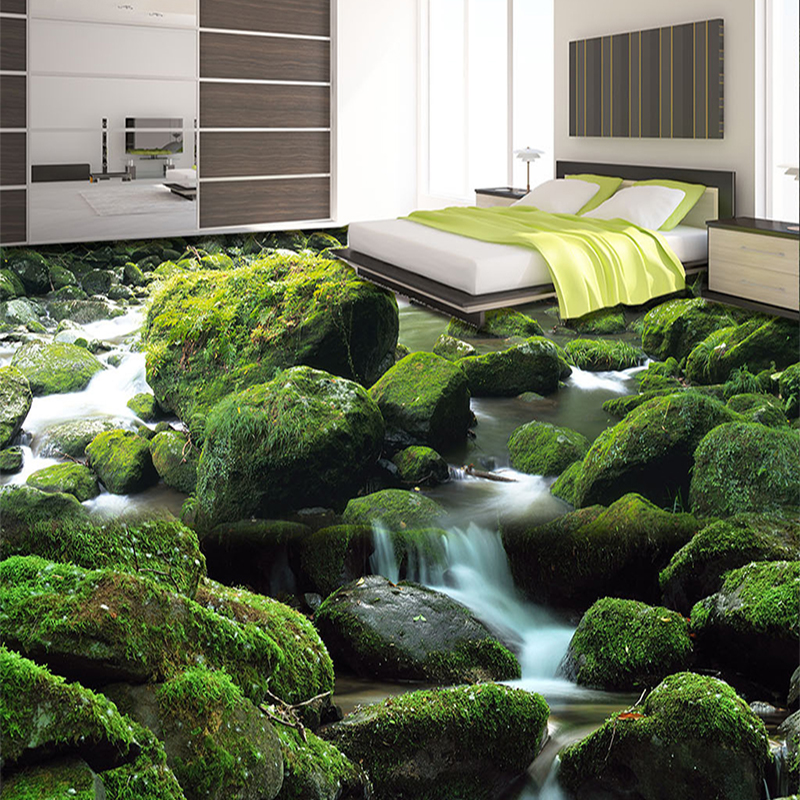 Custom Floor Wallpaper 3D Stereoscopic Stream Landscape Photo Floor Murals For Living Room Bathroom PVC Self Adhesive Wall Cover(China (Mainland))
