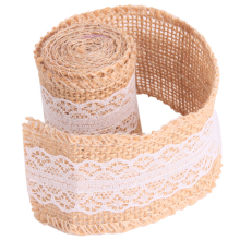 1roll 100*5cm Linen Lace Rustic Wedding Decor Christmas Gift Linen Wrapping DIY Sewing Lace With Natural Burlap Ribbon QB875398(China)