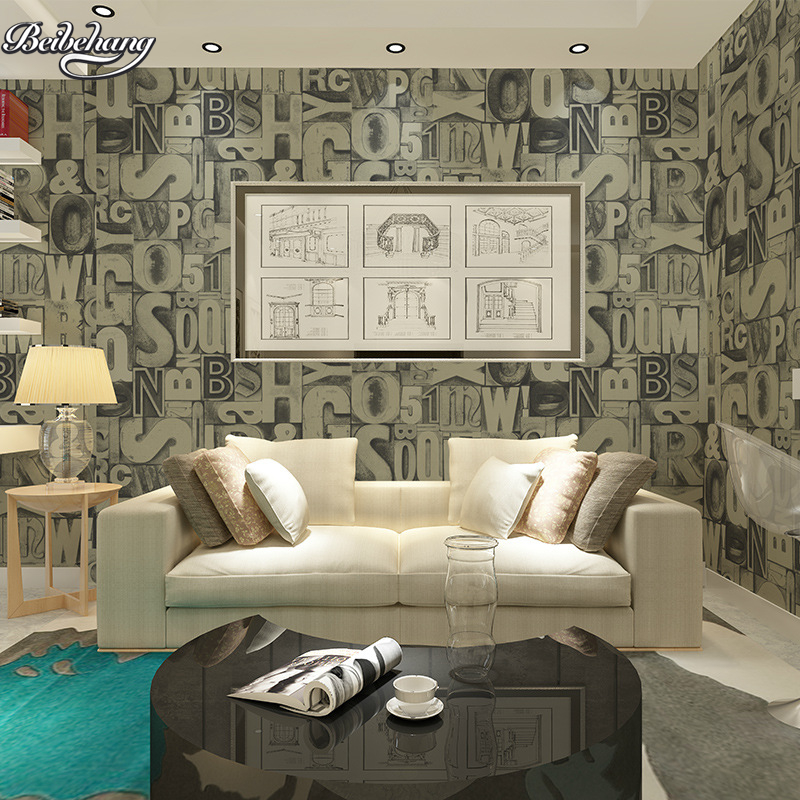 beibehang Personalized bump three-dimensional English letters characteristics retro bar cafes coffee shop wall wallpaper new<br>