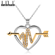 danbihuabi Popular Romantic White Crystal Heart Love with arrow Gold&Silver Color Necklace for Women and Girls Wedding and Party
