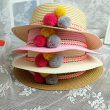 Baby Girls Sun Hat Summer Infant kids Straw Hats Colourful yarn ball Decoration Boys Sun Hat Children Floppy Panama XV2