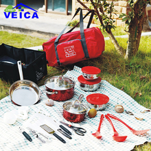 Bright Red Color 33pcs/set With Bag Outdoor Camping Hiking Cookware Backpacking Cooking Picnic Bowl Pot Pan Kitchen Tools Set