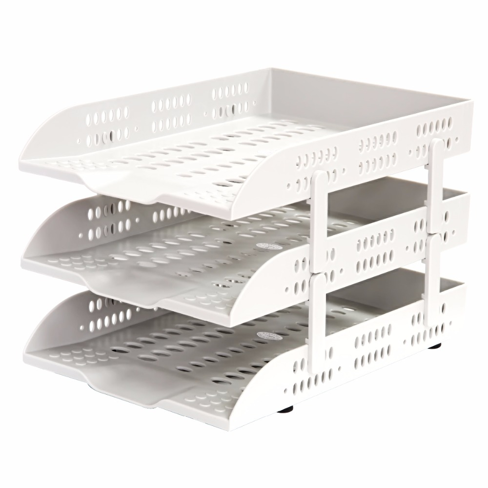 1 Set Document Trays Dest Accessories And Organizer File Tray Office Grey Color 3 Layers Very Strong Deli 9215 <br>