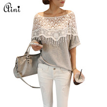 New Summer Women T-shirts Cotton Lace Stitching T Shirt Hand Crochet Shawl Lace Collar Bat Sleeve Long T-shirt Tops Plus Size XL