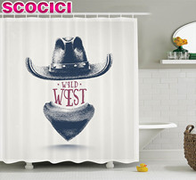 Western Decor Shower Curtain Set Graphic Design of Wild West Cowboy Hat and Scarf in Vintage Colors American New Old Bathroom Ac