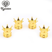 Kyostar-4PCS Universal Crown Shape Tire Air Valve Stem Dust Caps For Car Truck Bike Wheel Silver Gold Black(China)