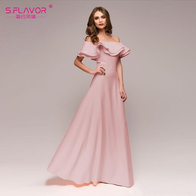 Fulision Womens Sequined Off-Shoulder Dress Solid Color Slim Party Dress