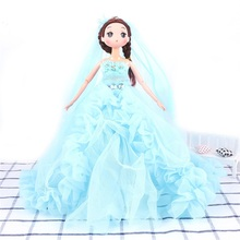 Buy 30cm fashion beautiful wedding dress baby doll toy silicone Princess doll girls gifts creative Valentine's Day birthday gift