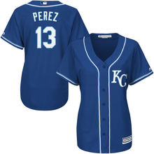 MLB Women's Kansas City Royals Salvador Perez White Home Cool Base Player Jersey(China)