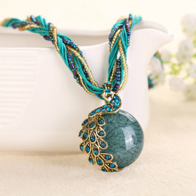 Multilayer Women Bohemia Necklace Colorful Beads Sautoir Turkish Jewelry,National Wind Natural Stone Peacock Pendant Necklace