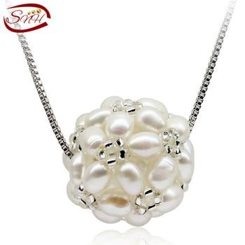 SNH естественный пресноводный жемчуг кулон ожерелье настоящее подлинная стерлингового серебра 925 культивированный жемчуг кулон для женщины