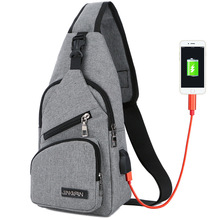 Male Chest bag USB Charging Sling Shoulder bags Men's Leisure Messenger Bag Crossbody ultra-light Outdoor Sport Tourism bags(China)