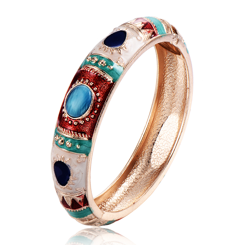 Fashion Vintage Punk Bangles Bracelets Opal For Womens Girls Gold Color Love Premier Designs Chunky Cuff Bracelete Enamel(China (Mainland))