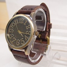 Hot Sales Vintage Genuine Cow Leather Watch Women Ladies Men Fashion Military Dress Quartz Wristwatch Relogio Feminino KOW042