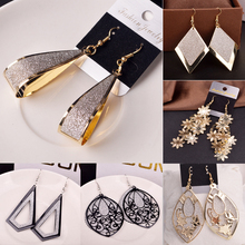 Buy LNRRABC Retro Women Alloy Elegant Drop Earrings Hollow Jewelry Geometric Long Pendant Dangle Earring Gifts Drop for $1.12 in AliExpress store