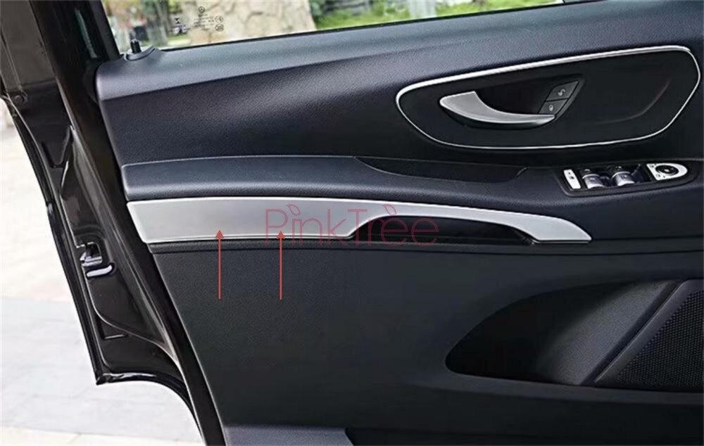 8 piezas Manija de la puerta lateral de cromo cubre adornos Espejo exterior del coche manija de la puerta protector de ajuste ABS para Vito W447 2014-2017
