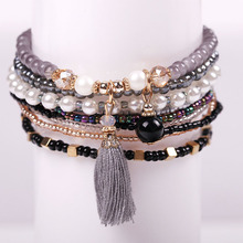 Buy MUHONG Bohemian Multilayer Imitation Matt Resin Bead Bracelet Crystal Beads Tassel Elastic Bracelets Bangles women for $1.65 in AliExpress store