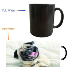 pug dogs mugs heat transfer change color cup Heat reveal mugs temperature color change cups heating cup