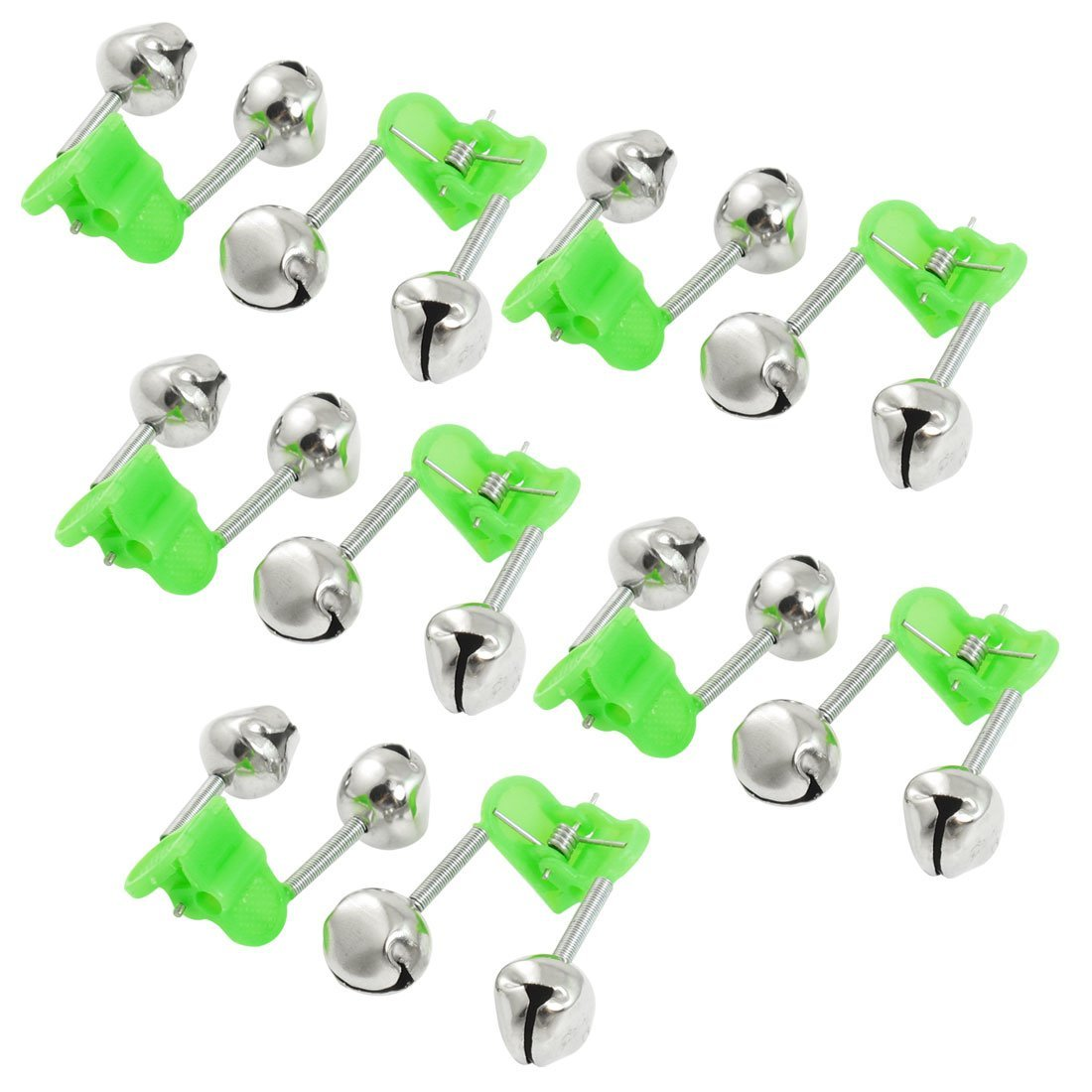 10 Pcs Green Spring Loaded Clip Double Fishing Rod Alarm Bells title=