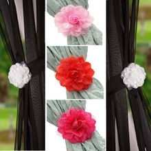 1pc Curtain Accessories Rose Flower Curtain Clip-On Curtain Strap Tie Backs Holdbacks For Voile & Net Curtain Panel 4 Colors