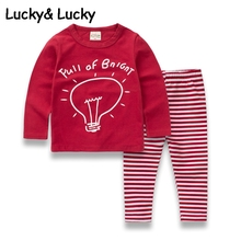 Children clothes cotton girls sports suit cotton sport wear red top with striped leggings baby girl clothes