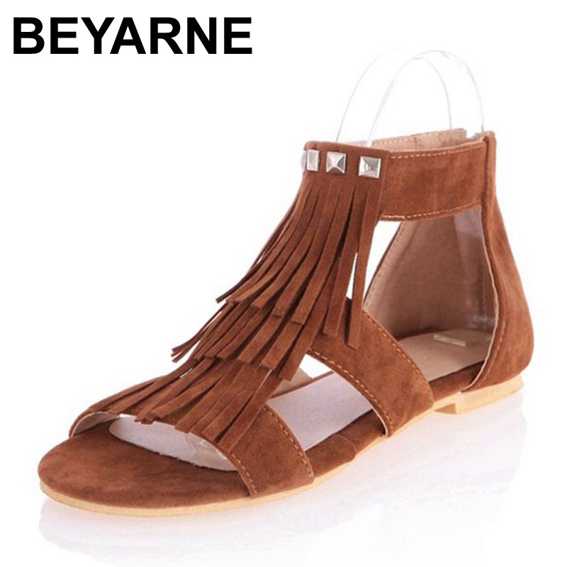 Free shipping Large size 34-43 Fashion Roman T Straps Punk Rivets Tassels Lady Summer Shoes Flats heel Sandals for Women<br><br>Aliexpress