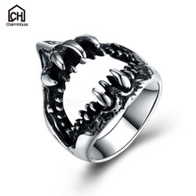 Fashion Men Titanium Steel Ring Vintage Black Fangs Round Rings Punk Rock Male Jewelry Gifts for Boyfriend Bague Dropshipping(China)