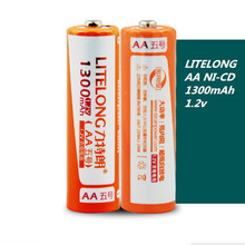 2pcs/Set Litelong AA Number 1300MAH Large Capacity Battery 1.2V Ni-CD Rechargeable Replacement Battery(China)