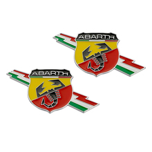 2pcs/lot Abarth Emblem 3D Metal Fender Car-styling sticker Decal for Fiat 500 124 125 695 OT2000 Coupe Punto Stilo Bravo Ducato