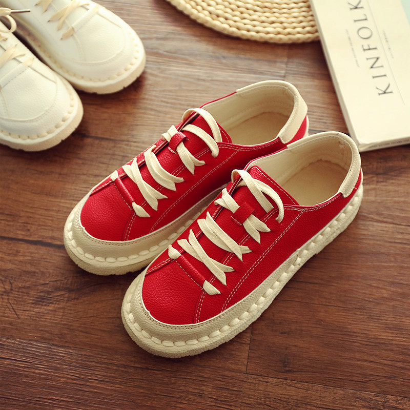 2017 NEW WOMEN CASUAL SHOES LACE-UP SOLID TETRO HANDMADE GIRL FASHION SHOES WOMEN FLATS SHOES SIZE 35 -40<br><br>Aliexpress