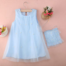 Baby Girl Princess Party Blue Summer Dress Tulle Gown Dresses and Bag Kids Sleeveless Clothes Mesh girls dress(China)
