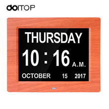 DOITOP Photo frame Digital Desktop&Table Clock LED Large Alarm Clock Calendar Large-Time Day and Date Display 8 Inch Dual Color(China)